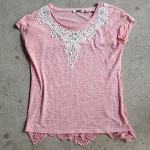 Miss Me crochet back tee pink small